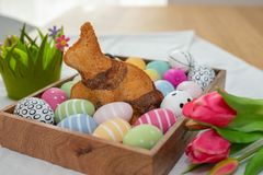 Home made easter bunny cake royalty free stock photo