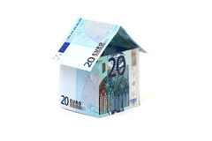 Home made of European banknotes Royalty Free Stock Photos