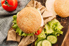Home made fastfood burgers on rustic background Stock Photo