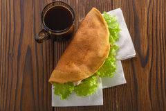 Home made fastfood with coffee on wooden table royalty free stock photos