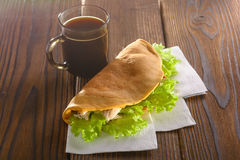 Home made fastfood with coffee on wooden table royalty free stock photo