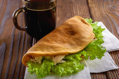 Home made fastfood with coffee on wooden table royalty free stock images