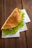 Home made fastfood on wooden table Royalty Free Stock Photo