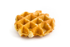 Home made fresh waffle over white. Home made fresh waffle isolated on white Royalty Free Stock Photo