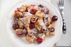 Home made German Pancakes with cherries Stock Photo