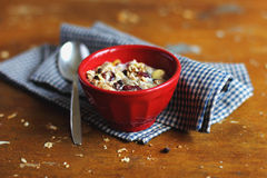 Home made granola with dried fruits and nuts in a Royalty Free Stock Images