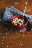 Home made granola with dried fruits and nuts in a Stock Image