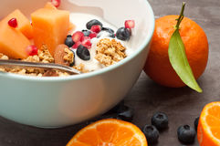 Home made Granola. Healthy home made breakfast of crunchy granola muesli, almonds, fresh melon, blueberries and pomegranate seeds. Served with fresh, sliced Stock Image