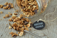 Home made granola. On wooden background Stock Photo
