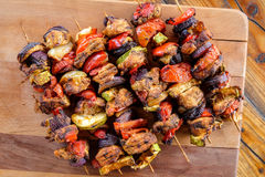 Home made grilled skewers royalty free stock photo