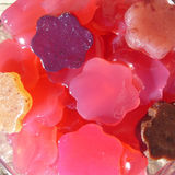 Home made gummies candy. Home made gummies flowers with beetroot and agar agar Royalty Free Stock Image