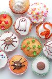 Home made Halloween horror cakes. A selection of spooky cupcakes Royalty Free Stock Images