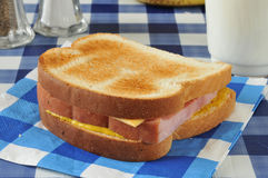 Home made ham and cheese sandwich Stock Photos