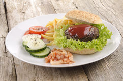 Home made hamburger on a plate Stock Image