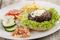 Home made hamburger on a plate Royalty Free Stock Image