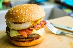 Home made hamburger. A super hamburger feshly made at home Stock Photos