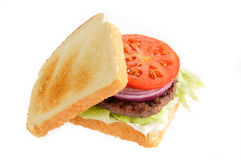 Home made hamburger on white Royalty Free Stock Images