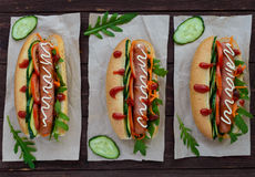 Home made hot dogs with vegetables, juicy sausage and arugula Stock Image