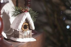 Home-made house on the fireplace eco style new year Stock Photos