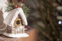 Home-made house on the fireplace eco style new year Royalty Free Stock Photo