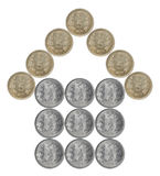 Home made from Indian coins. Isolated on white background Royalty Free Stock Images