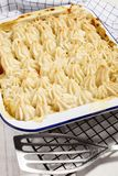Irish fish pie in an white an blue enamel bowl stock image