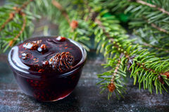 Home-made Jam  from pine cones, for improving immunity. Stock Photography