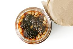 Home-made jam from pine cones. Jam in jar stock photography