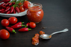 Home made ketchup in a jar Royalty Free Stock Photography