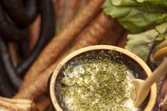 Home-made lard with majrojam Stock Photos