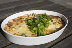 Home Made Lasagne. On a table outside in the sunlight Stock Photos