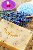 Home-made lavender soap Stock Photography