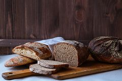 Home made loaf of bread. Food concept royalty free stock image