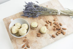 Home-made macarons with lavender and almonds Royalty Free Stock Photo