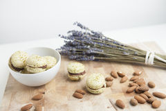 Home-made macarons with lavender and almonds Stock Photography