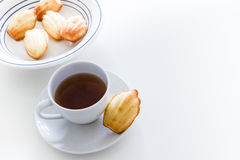 Home made Madeleine cookie, tea cup Royalty Free Stock Photos
