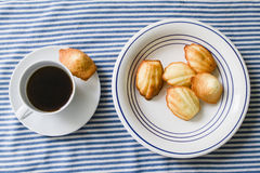 Home made Madeleine cookies, coffee cup Royalty Free Stock Photography