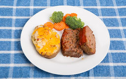 Home Made Meatloaf with Potato and Vegetables Stock Photo