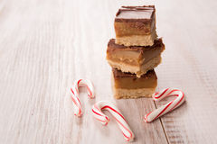 Home Made Millionair Bars With Candy Canes. Home made Millionaire caramel bars with candy canes for Christmas Stock Photography