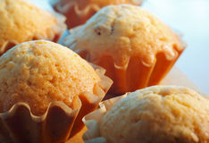 Home made muffins. In a paper mould baking tins on a wooden board. Colorful lights stock photos