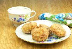 Home made muffins and milk. Stock Photos