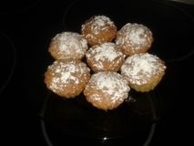 Home made muffins. With sugar powder on a plate Royalty Free Stock Images