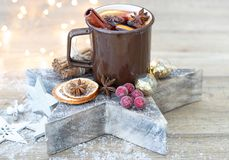 Home made mulled wine stock image
