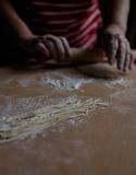 Home-made noodles and homemade dough. Making home-made noodles and home dough Stock Photos