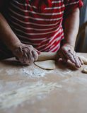 Home-made noodles and homemade dough. Making home-made noodles and home dough Stock Images