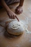 Home-made noodles and homemade dough. Making home-made noodles and home dough Royalty Free Stock Photo