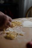 Home-made noodles and homemade dough. Making home-made noodles and home dough Royalty Free Stock Photography