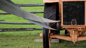 The home made old time noisy farm machine Straw Hammer Mill Engine stock footage