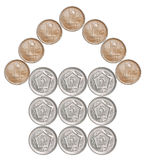 Home made from Pakistani coins. Isolated on white background Royalty Free Stock Photo