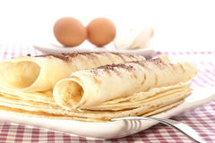 home made pancake on white plate Stock Photography